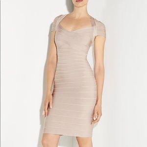 Hervé Leger Raquel Bare Beige Bandage Sexy Dress